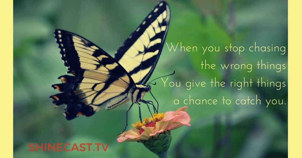 """""""When you stop chasing the wrong things you give the right things a chance to catch you."""" Quote source unknown, might be from Hope Floats. Photo Graphic by Shinecast®"""