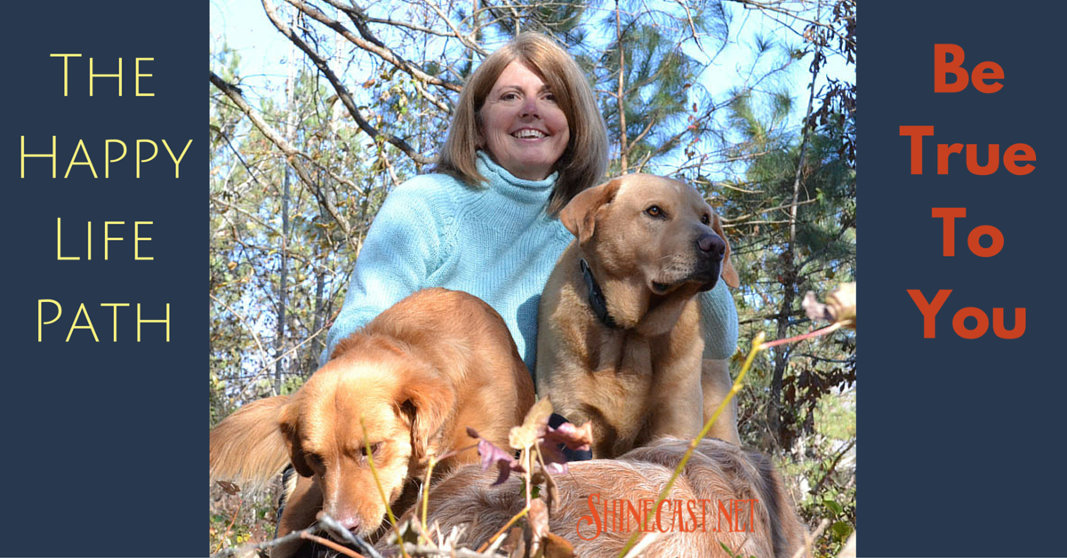 Sheree Martin with dogs Penny, Shine and Nicholas. The Happy Life Path depends on being true to yourself.